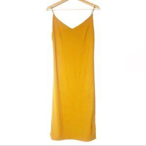 Mustard Yellow Sexy Spaghetti Strap Dress